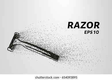 Razor of particles. Razor consists of small circles and dots. Vector illustration