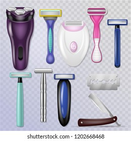 Razor vector realistic sharp blade sharp shaver and personal male shaving equipment illustration hygiene set of woman daily razor-blade bathroom accessory isolated on transparent background
