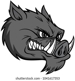 Razorback Mascot Extreme Illustration - A vector cartoon illustration of a Razorback Mascot.