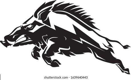 Razorback Wild Boar, Abstract Geometric Shadow Style Illustration