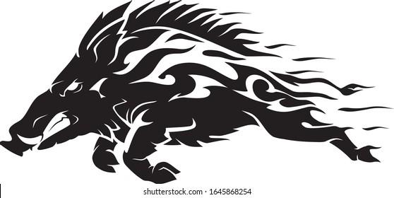 Razorback Wild Hog or Boar, Abstract Flaming Speed Design