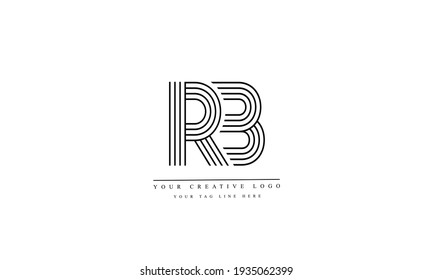 RB BR abstract vector logo monogram template