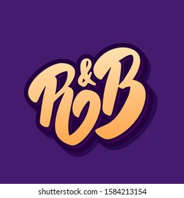 R&B. Hand drawn vector lettering. Music style.