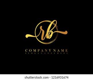 RB initial handwriting logo circle template vector