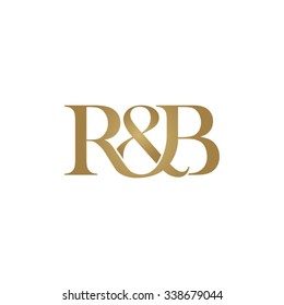 R&B Initial logo. Ampersand monogram golden logo