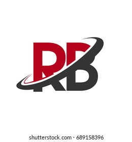 RB initial logo company name colored red and black swoosh design, isolated on white background. vector logo for business and company identity.