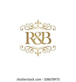 R&B Initial logo. Ornament ampersand monogram golden logo