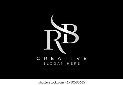 RB letter design logo logotype icon concept with serif font and classic elegant style look vector illustration. RB Letter Logo Design Template Vector Illustration.