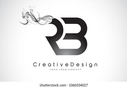 RB Letter Logo Design with Black Smoke. Creative Modern Smoke Letters Vector Icon Logo Illustration.