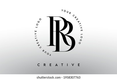 RB Letter Logo Design with Serif Typography Font and Elegant Modern Look in Black and White Colors Vector Illustration.