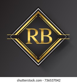 RB Letter logo in a square shape gold and silver colored geometric ornaments.