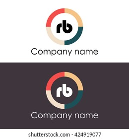 RB letters business logo icon design template. Symbol with four colors circle