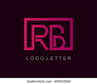 RB Logo letter design vector with box
