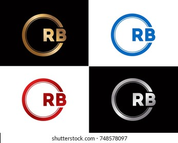 RB Logo. Letter Design Vector with Red and Black Gold Silver Colors