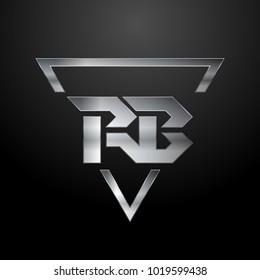 RB Logo, Metal Logo, Silver Logo, Monogram, Polygon