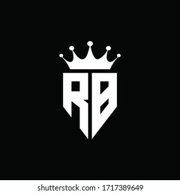 RB logo monogram emblem style with crown shape design template