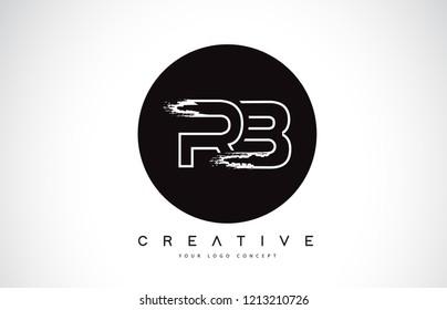 RB Modern Leter Logo Design with Black and White Monogram. Creative Letter Logo Brush Monogram Vector Design.