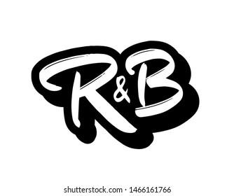 R&B music genre logo vector. Hand lettering for designs.