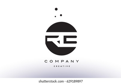 RB R B alphabet company letter logo design vector icon template simple black white circle dot dots creative abstract