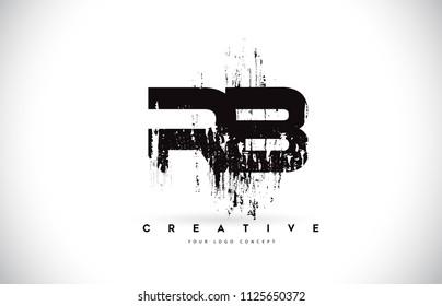 RB R B Grunge Brush Letter Logo Design in Black Colors. Creative Brush Letters Vector Illustration.