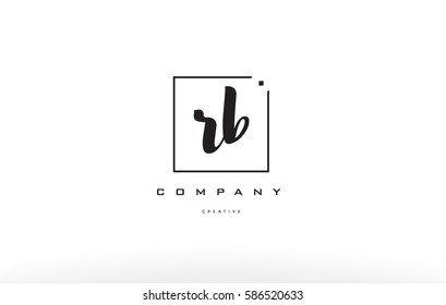 rb r b hand writing written black white alphabet company letter logo square background small lowercase design creative vector icon template