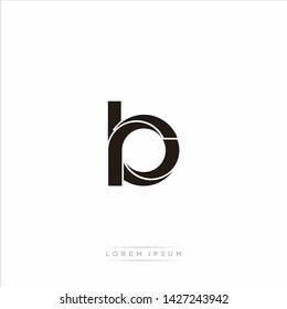 rb r b Initial Letter Split Lowercase Modern Monogram linked outline rounded logo