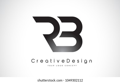 RB R B Letter Logo Design in Black Colors. Creative Modern Letters Vector Icon Logo Illustration.