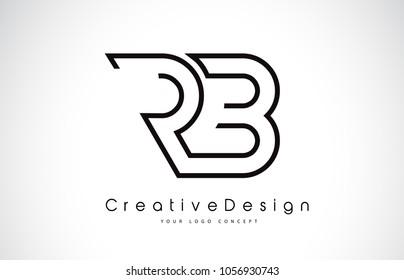 RB R B Letter Logo Design in Black Colors. Creative Modern Letters Vector Icon Logo Illustration.