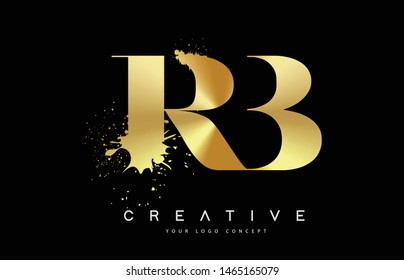RB R B Letter Logo with Gold Melted Metal Splash Vector Design Illustration.