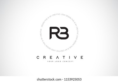 RB R B Logo Design with Black and White Creative Icon Text Letter Vector.