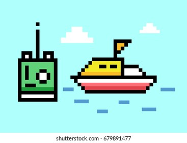 RC Boats and Remote Control - Pixel Art. Elements Design. Illustration and icon.