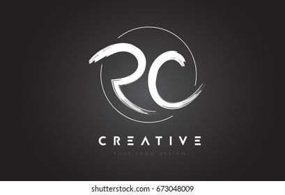 RC Brush Letter Logo Design. Artistic Handwritten Brush Letters Logo Concept Vector.