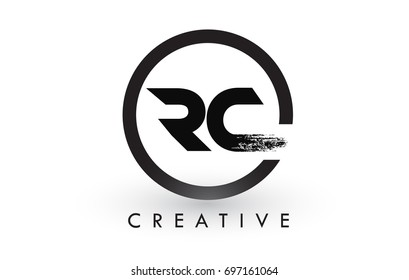 RC Brush Letter Logo Design with Black Circle. Creative Brushed Letters Icon Logo.