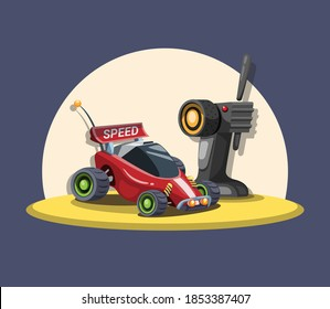 RC Car buggy with remote control in sand concept in cartoon illustration vector