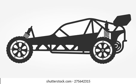 Rc car buggy toy isolated silhouette, vector illustration.