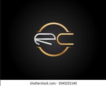 RC circle Shape Letter logo Design in silver gold color