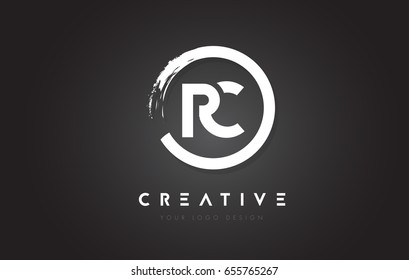 RC Circular Letter Logo with Circle Brush Design and Black Background.