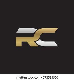 RC company linked letter logo golden silver black background