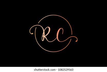 RC CR Circular Cursive Letter Initial Logo Design