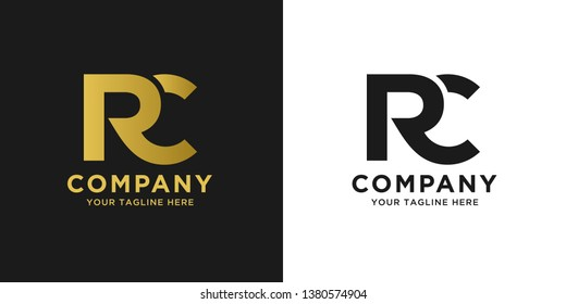 RC elegant logo template in gold color, vector file .eps 10, text and color is easy to edit