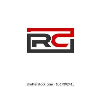 RC initial box letter logo template vector