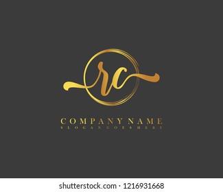 RC initial handwriting logo circle template vector
