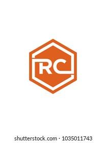 RC initial hexagon letter logo template vector