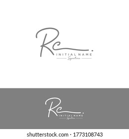 RC Initial letter handwriting and signature logo.