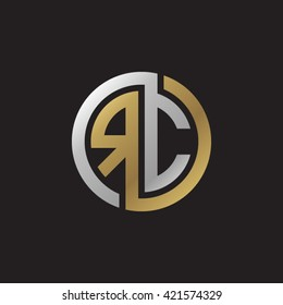 RC initial letters looping linked circle elegant logo golden silver black background