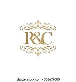R&C Initial logo. Ornament ampersand monogram golden logo