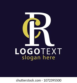 RC Initial Logo Vector, with gold and silver color