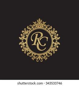 RC initial luxury ornament monogram logo