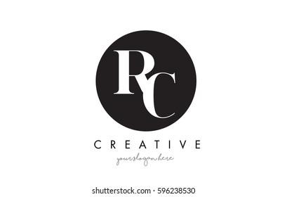 RC Letter Logo Design with Black Circle and Serif Font Vector Illustration.