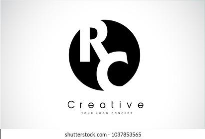 RC Letter Logo Design inside a Black Circle. Creative Lettering Logo Vector Illustration.